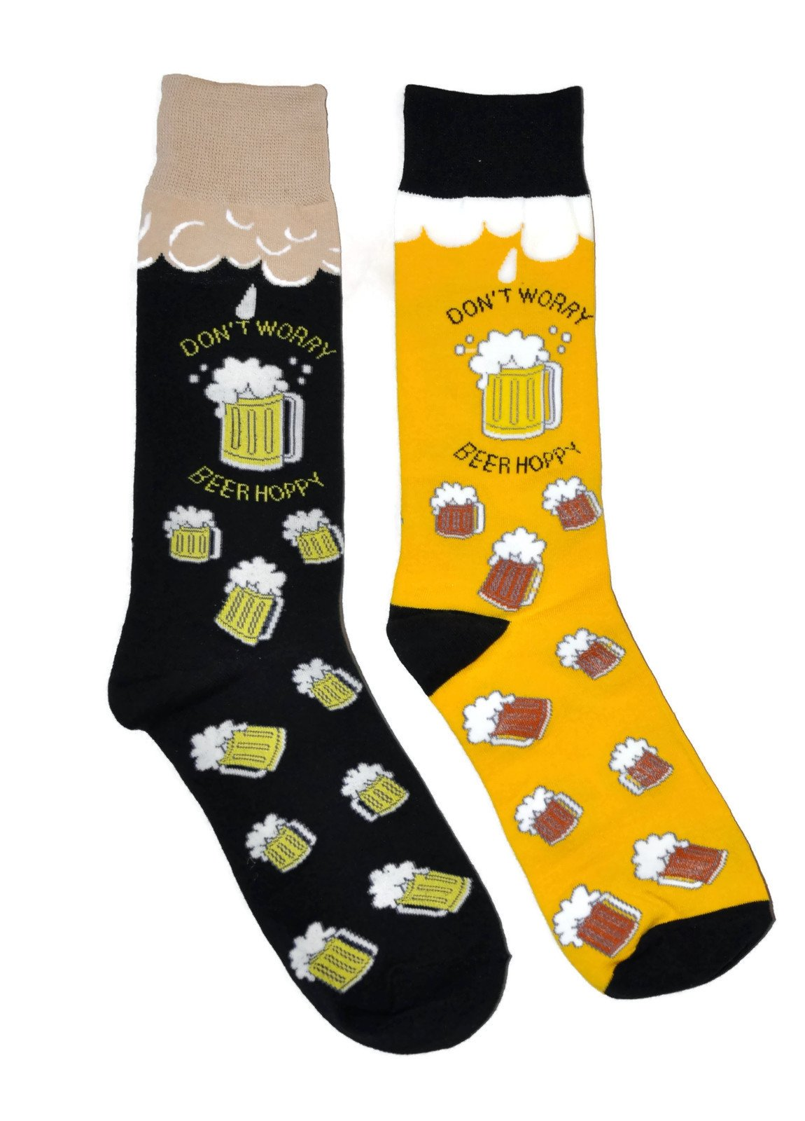 Mens Novelty Trouser Socks 2 Pair Bundle FineFit Themed Pattern (Beer Hoppy)