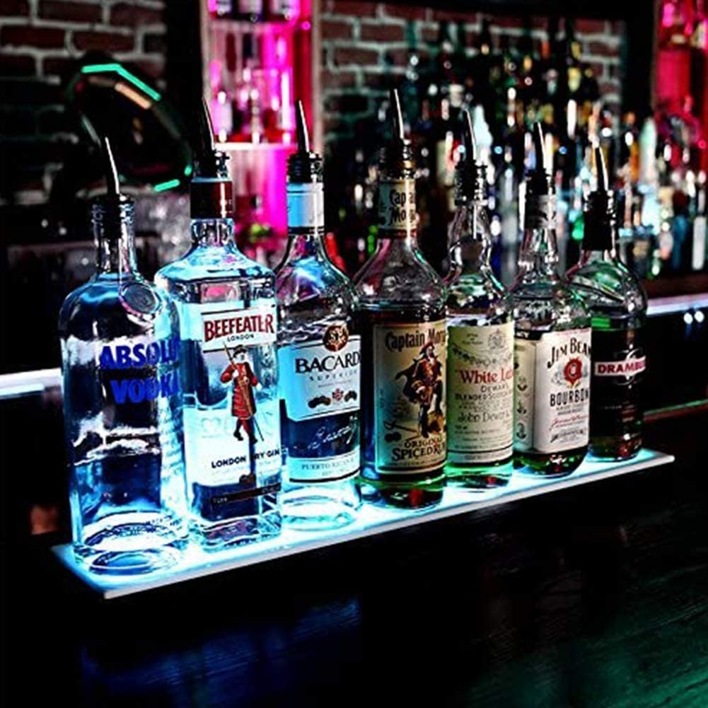 LED Lighted Liquor Bottle Display 20/32 Inch Illuminated Bottle Shelf for Home Commercial Bar Drinks Lighting Shelves Color Changing with Remote Control.