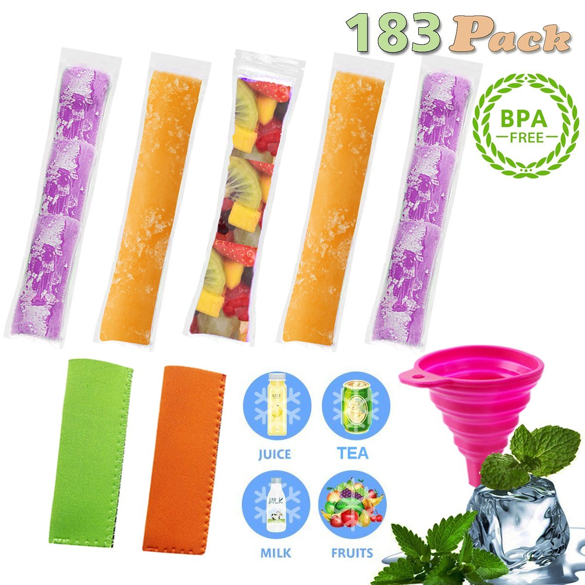 EXSPORT 180 PCS Pop Bags Pop Mold Bags Popsicle Pouches Popsicle Molds Bags BPA Free and FDA Approved Ice Pop Pouch with 2 PCS Popsicle Holders for Yogurt, Ice Candy, Ice cream Party Favors