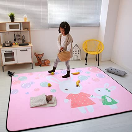 Amazoncom Higogogo Pink Rug For Girl Cute Rabbit Carpet Rug For