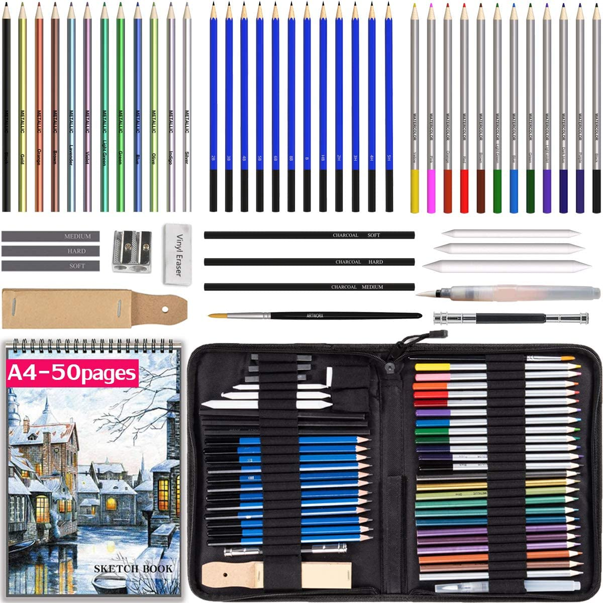 Sketch Pencils n Accessories Included for Kids n Adults Drawing Pencils with Sketchbook 50 Pages Colored Pencils 53pcs Set in a Portable Zipper Case Watercolor n Metallic Pencils Beginners n Pros