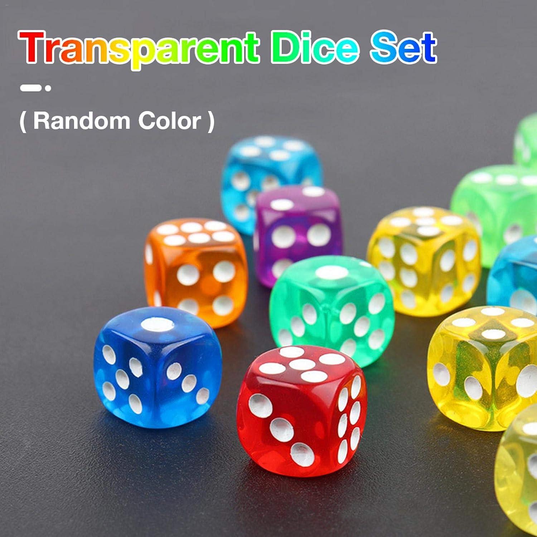 Color Aleatorio Awayhall Conjunto de Dados Poli/édricos 10 Piezas Juegos de Mesa Juego de Dados 16 mm Juego de Dados Transparentes para Juegos de Mesa