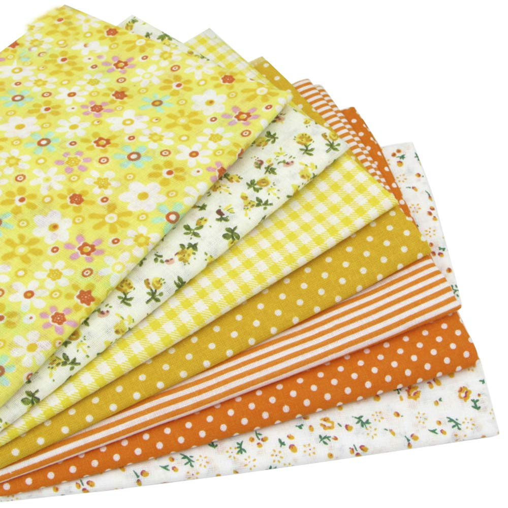 7pcs Brown 19.7 x 19.7 100/% Cotton Fabric for DIY Sewing Patchwork quilting squares bundles