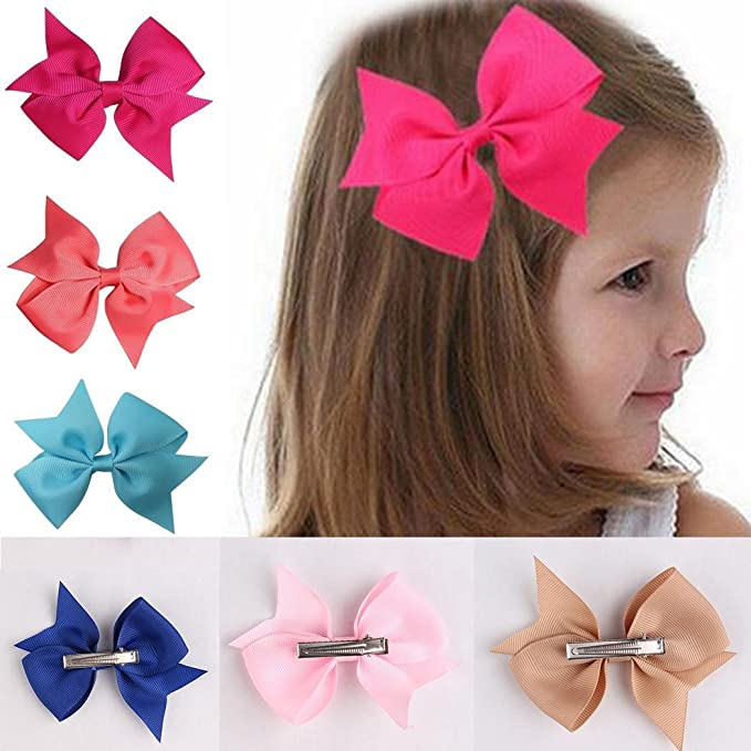 b7237e37780a Image Unavailable. Image not available for. Color  Fanala Girls Ribbon Bow  Hair Clip Kids Alligator Clips Party Hair Accessories 10pcs Facial Hair
