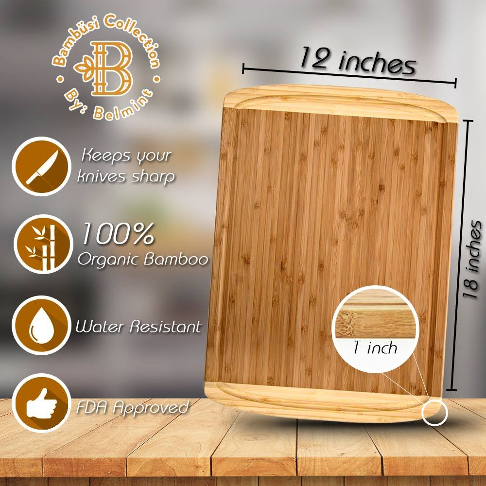 Premium Bamboo Cutting Board Set of 4 - Eco-Friendly Wood Chopping Boards with Juice Groove for Food Prep, Meat, Vegetables, Fruits, Crackers & Cheese - 100% Natural Bamboo Craftsmanship. by: Bambusi by Bambüsi (Image #9)