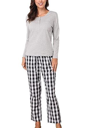 041e967de0 Giorzio Damen Baumwolle Schlafanzug Herbst-Winter Nachtwäsche Langarm Pyjama  Zweiteiliger O-Ausschnitt Schlafoveralls Top