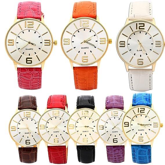 Hombres de las mujeres de cuero reloj de cuarzo al por mayor 8 unidades: yunanwa: Amazon.es: Relojes