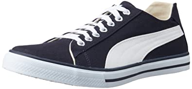 420420e94293ed Puma Men s Hip Hop 4 Ind. Insignia Blue and White Canvas Sneakers - 12UK