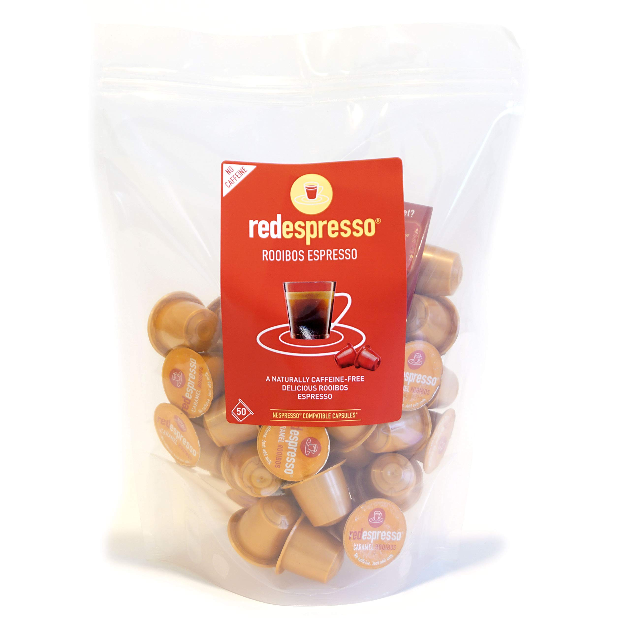 Red Espresso - Caramel Rooibos Tea Capsules (50 CAPSULES) - Nespresso Compatible - Vegan, Non GMO, Organic, Antioxidant, Age-Defying
