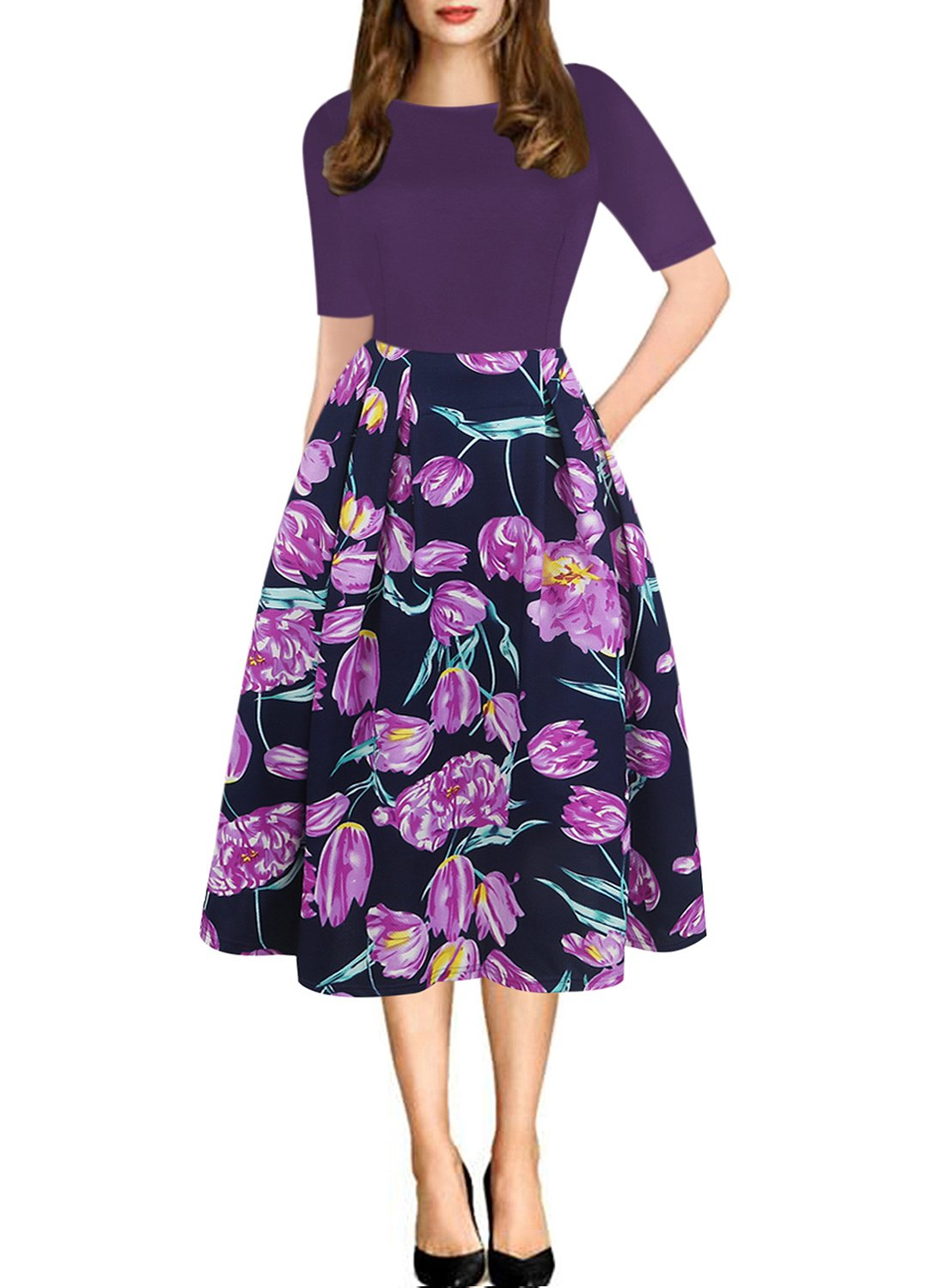 oxiuly Women's Vintage Patchwork Pockets Puffy Swing Casual Party Dress OX165 (2XL, Purple)