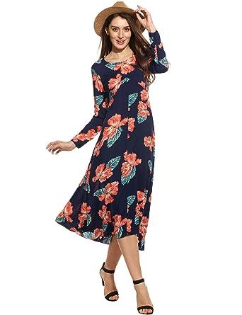 0e768037b40b Zeagoo Women's Boho Long Sleeve Floral Print Beach Party Beach Maxi Dress,Dark  Blue,