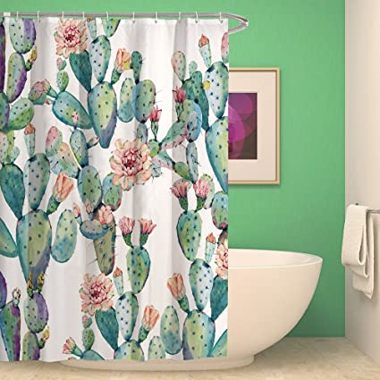 HMWR Tropical Green Plants Cactus Waterproof Bath Shower Curtain Pink Petal Flower Bathroom