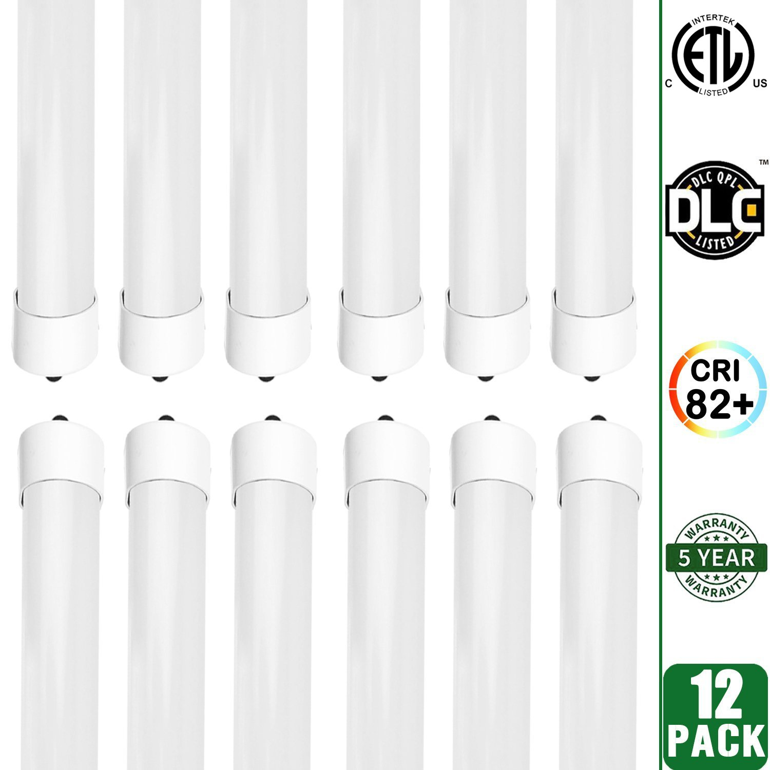 Hykolity 8' T8 T10 T12 36W LED Tube Light [80W Fluorescent Equivalent] 4000lm 5000K Daylight White Frosted Lens Cover FA8 Single Pin Dual-End Powered Fluorescent Tube Retrofit Replacement-Pack of 12
