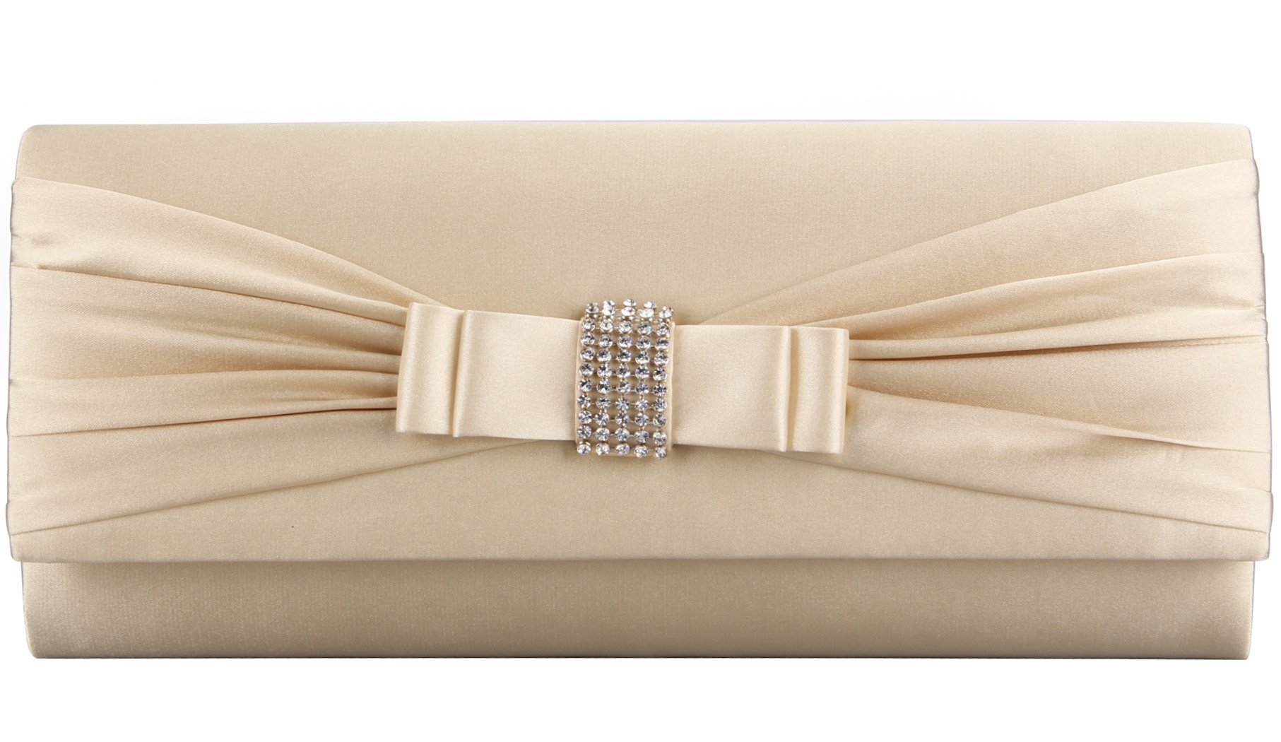 Grace Angel Women's Bow Rhinestones Evening Cocktail Party Clutch GALU4126E Champagne