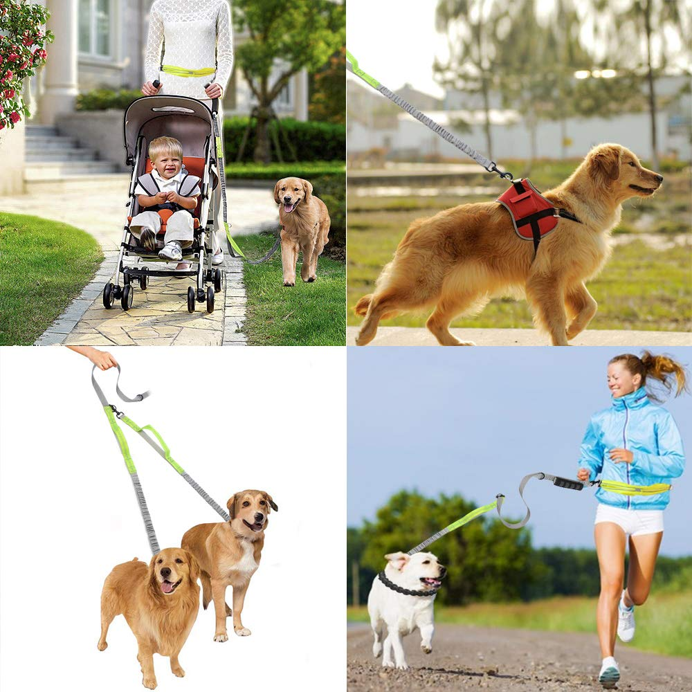 Dual Dog Leash Two Dog Lead with Waist Belt Bag Double Dog Leash Retractable Reflective Dog Leash Double Strong for 2 Dogs with Comfort Padded Handle Training Leash for Dogs Walking Running(1.7-1.9M)