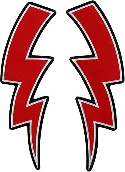 RED LIGHTNING BOLT EMBROIDERED IRON ON PATCH
