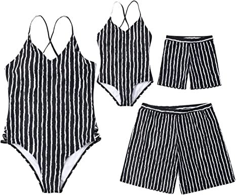 Family Matching Bathing Suit Mom/&Girl One Piece Queen Prince Sleeveless Monokini Dad/&Boy King Prince Swim Shorts