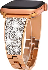 Greaciary Sparkle Braclet Compatible with Apple Watch Band 38mm 40mm iWatch bands Series 5/4/3/2/1,Bling Cystal Dressy Metal Cuff Strap ,Chic Women's Jewelry Wristand Rose Gold