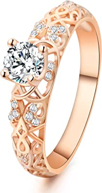 Amazon Com 925 Sterling Silver 1 Carat Round Rose Golden Plated