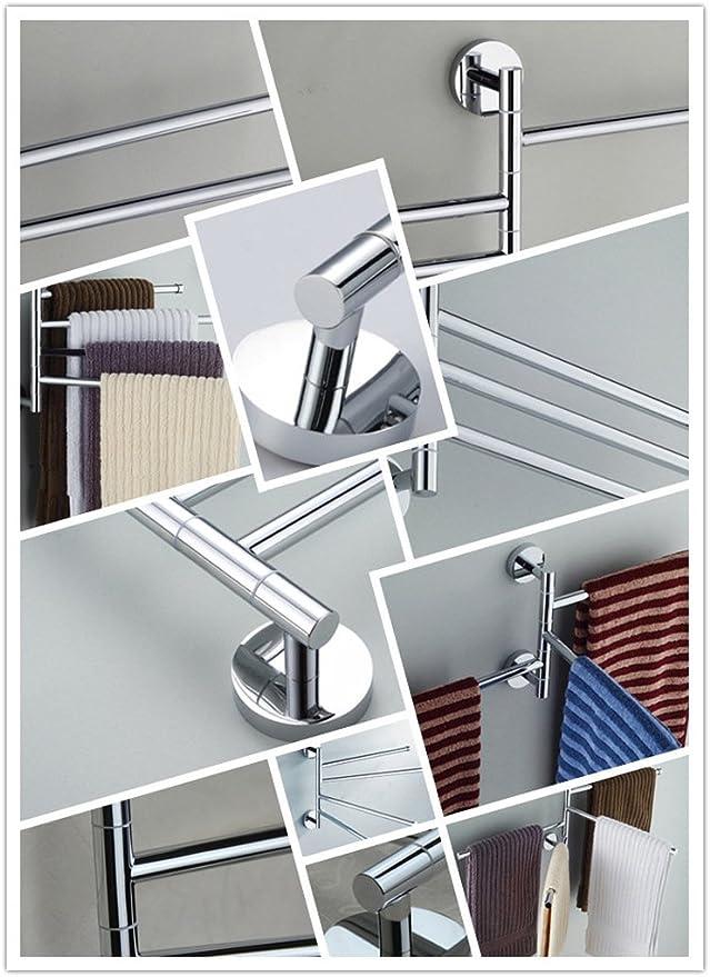 SUPERKIT Handtuchhalter Bad Mit 4 Armen 180° Drehung Elegance aus Edelstahl 35cm