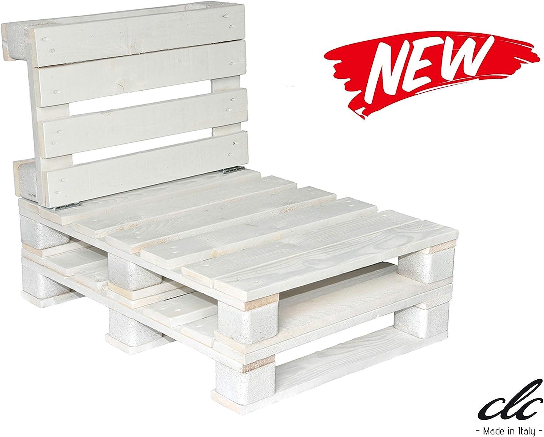 clc Divanetto 1 Posto in Pallet EPAL da Esterno e Giardino 60x66x74 Bianco Made in Italy