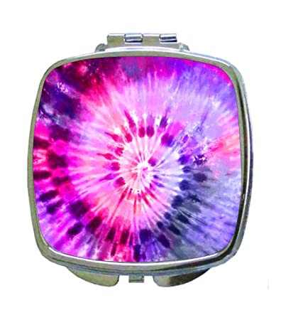 3c17a5acf8f9e Amazon.com : Pink-Blue-Purple Tie Dye - Compact Mirror in Silvertone ...