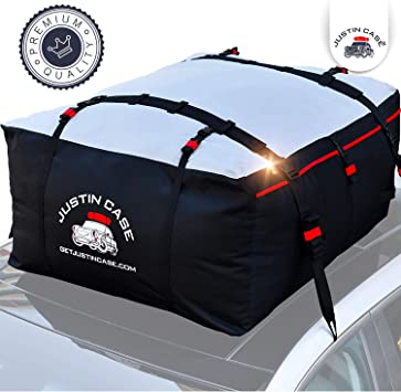 Car Roof Bag Fits All Cars with No Roof Rack 2 Reinfored Straps Included LED Kingdomus 15 Cubic Feet Heavy Duty Rooftop Bag Vehicle Soft Shell Carrier Bag Waterproof Cargo Top Storage Bag