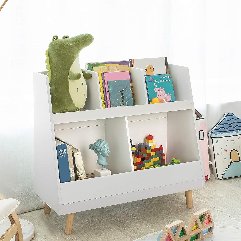 SoBuy Libreria montessoriana per Bambini Scaffale portagiochi Portariviste L58*P27*A76 cm KMB27-W