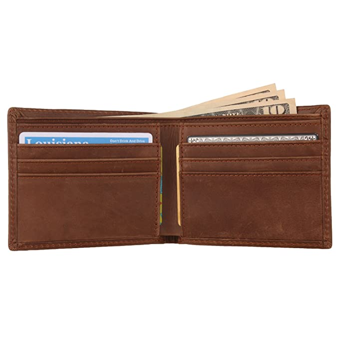 8330f90e733d4 Texbo Men s Genuine Cowhide Leather Vintage Bifold Wallet at Amazon ...