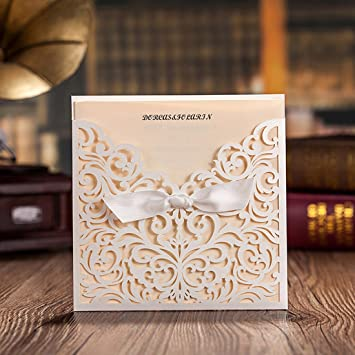 amazon com wishmade 50x white square laser cut tri fold lace