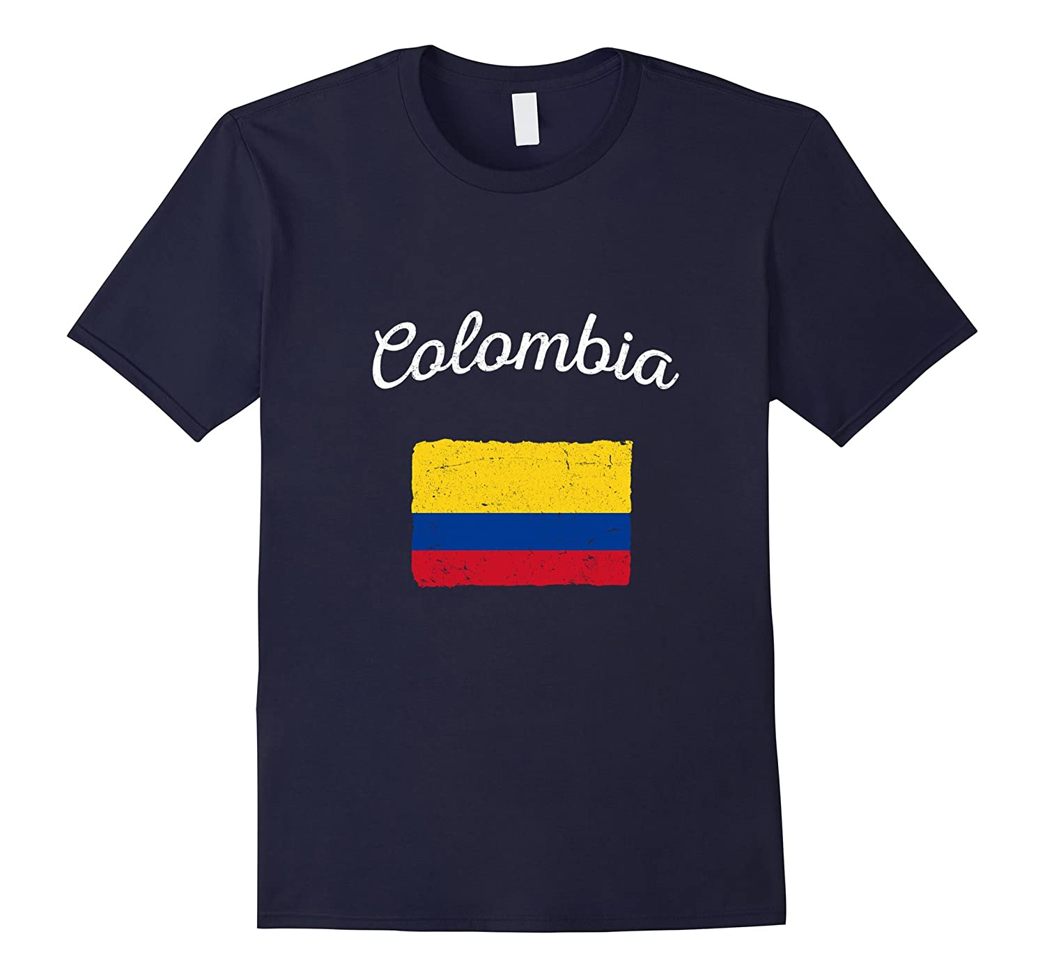 Colombia Colombian Vintage Flag T-Shirt-TD