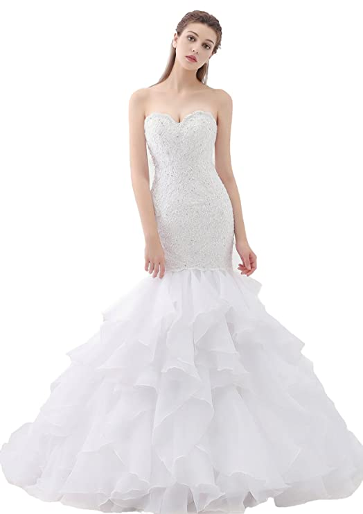 8eefcf38bb1 Mermaid Sweetheart Organza Wedding Dress with Lace Appliques Wedding Bridal  Gown