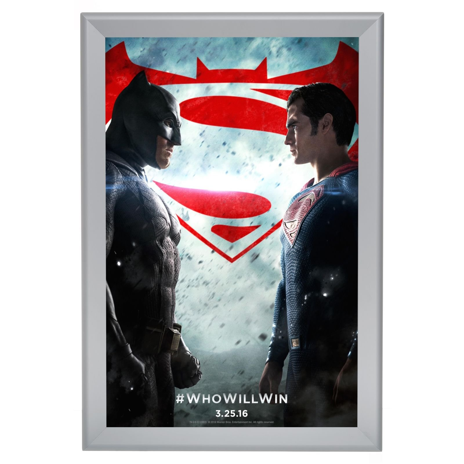 SnapeZo Movie Poster Frame 30x40 Inches, Silver 1.7'' Aluminum Profile, Front-Loading Snap Frame, Wall Mounting, Wide Series