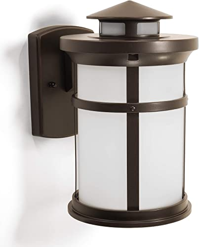 CORAMDEO Outdoor Round Misson-Style Wall Mount Lantern, Built-in LED to Last Over 22 Years, Easy to Install Outside Light Fixture for House Exteriors, Garages Wet Locations, Bronze Finish, Medium