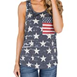 Teresamoon American Flag Top, Ladies Women Casual Blouse T Shirt Sleeveless Shirt