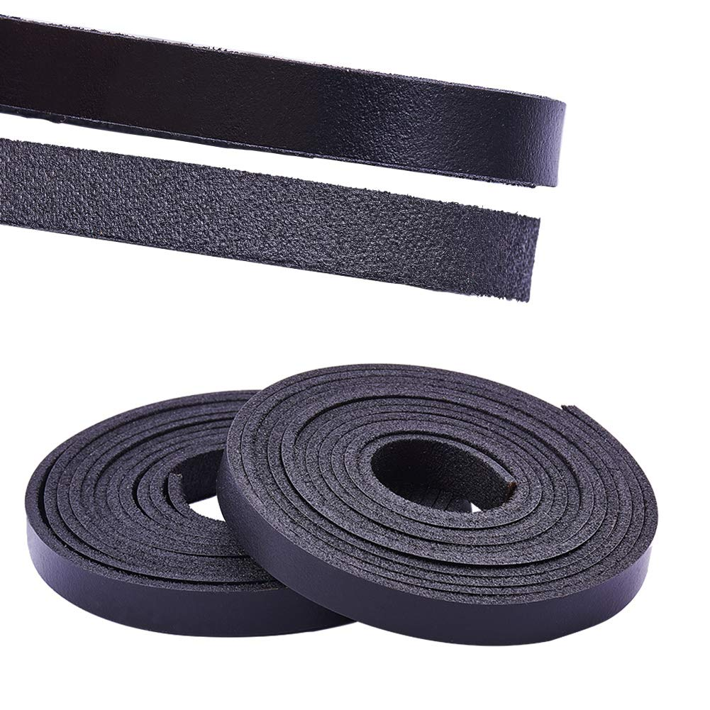 PH PandaHall Leather Strap 157 Inches Long 3/8 Inch Wide Leather Craft Strip Genuine Leather(Black) wh-WL-PH0004-01