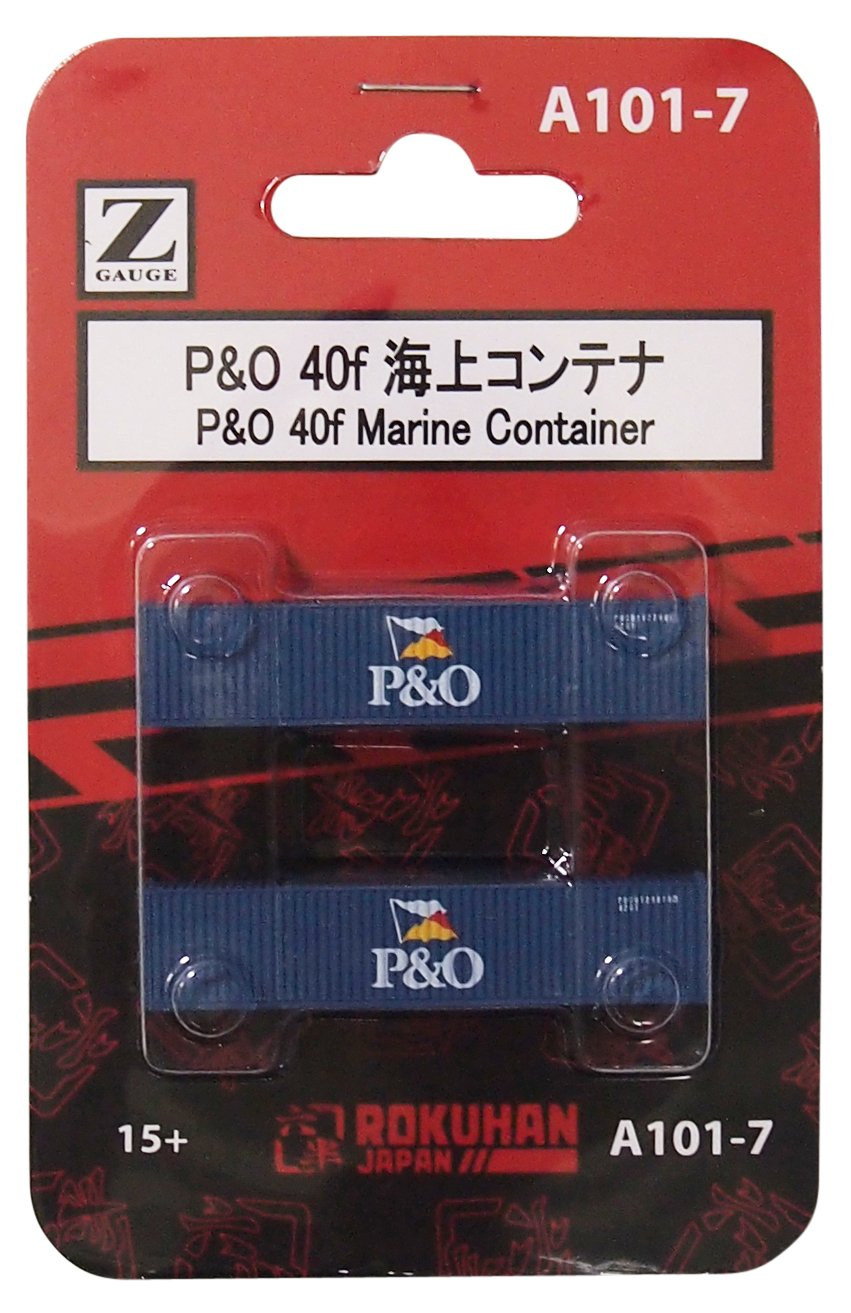 Spur Z A101-7 P & amp; O 40f Seecontainer (2 Stuck) Rokuhan