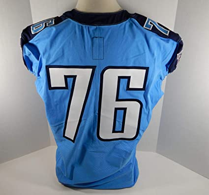 promo code 46aa4 b6180 2016 Tennessee Titans #76 Game Issued Light Blue Color Rush ...