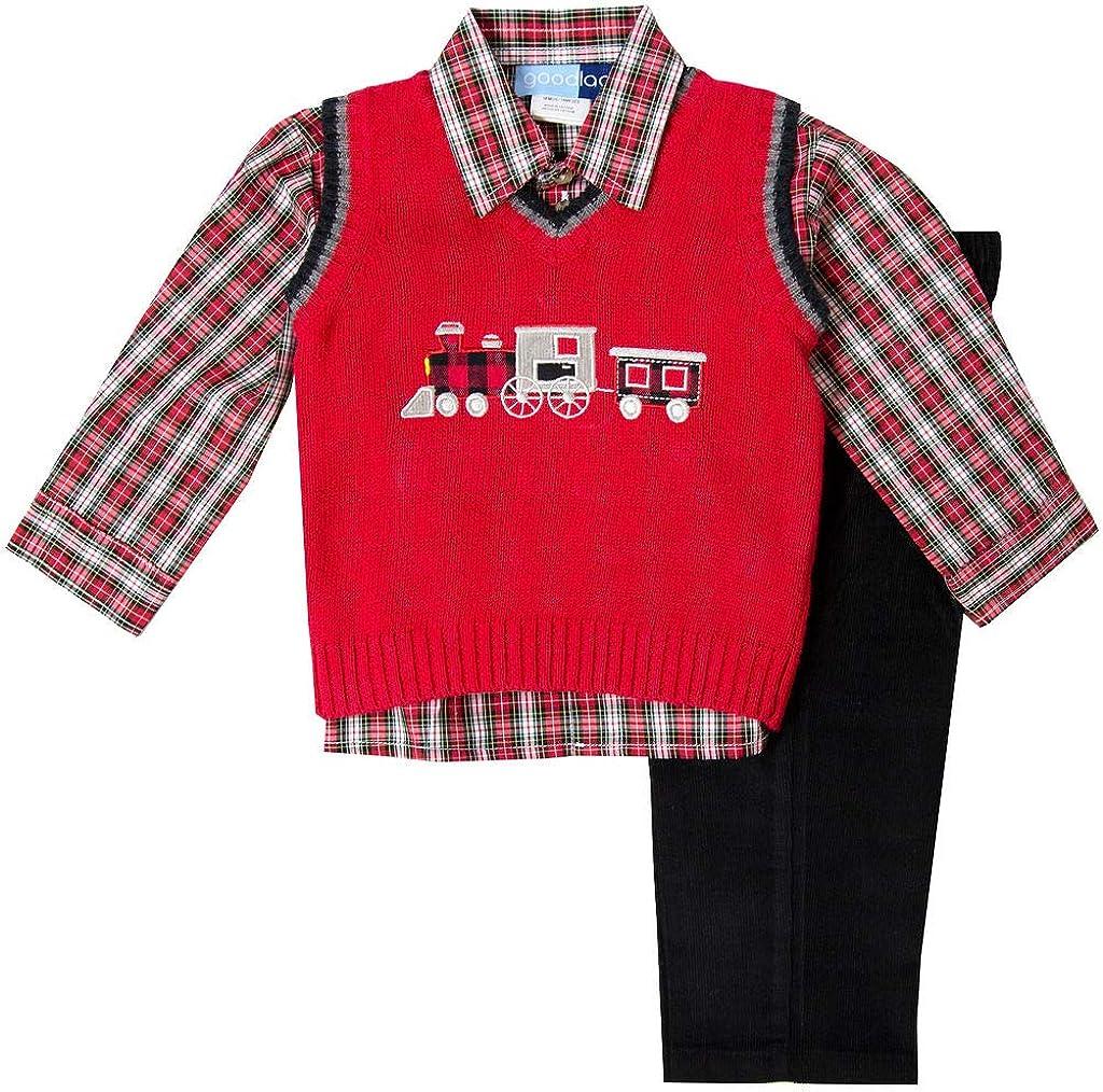 Good Lad Toddler /& 4//7 Boys Three Piece Grey Train Appliqued Sweater Set