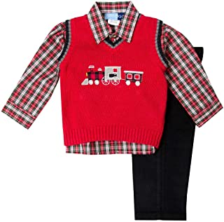 Good Lad Toddler 4/7 Boys Red Train Appliqued Holiday Three Piece Sweater Set