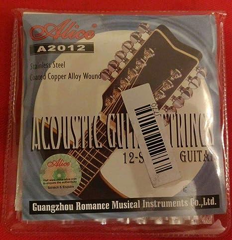 Conjunto de cuerdas para guitarra acústica Folk 12 cuerdas Alice ...