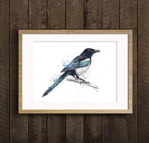 Fine Art Print of My Original Red Robin Garden Bird Watercolour Painting Signed A3 A4 Wildlife Animal