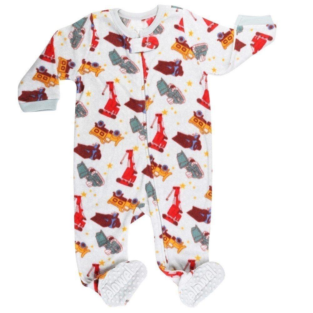 Elowel Baby Jungen Grobe 68-110 Einteiler Strampler Schlafanzug Schlafoverall Sand-LKW Vlies