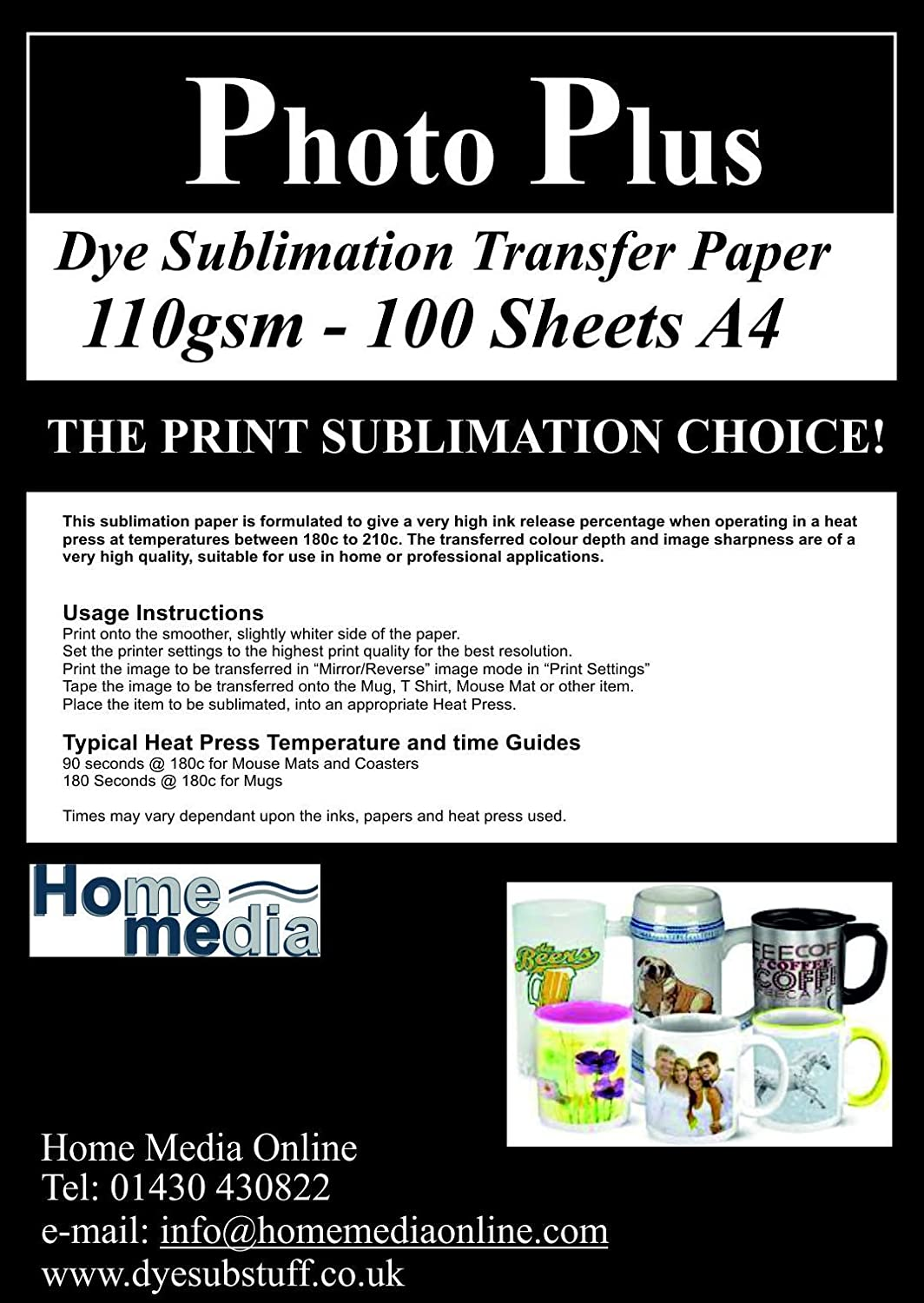 Dye Sublimation Heat Transfer Paper - 100 Sheets A4