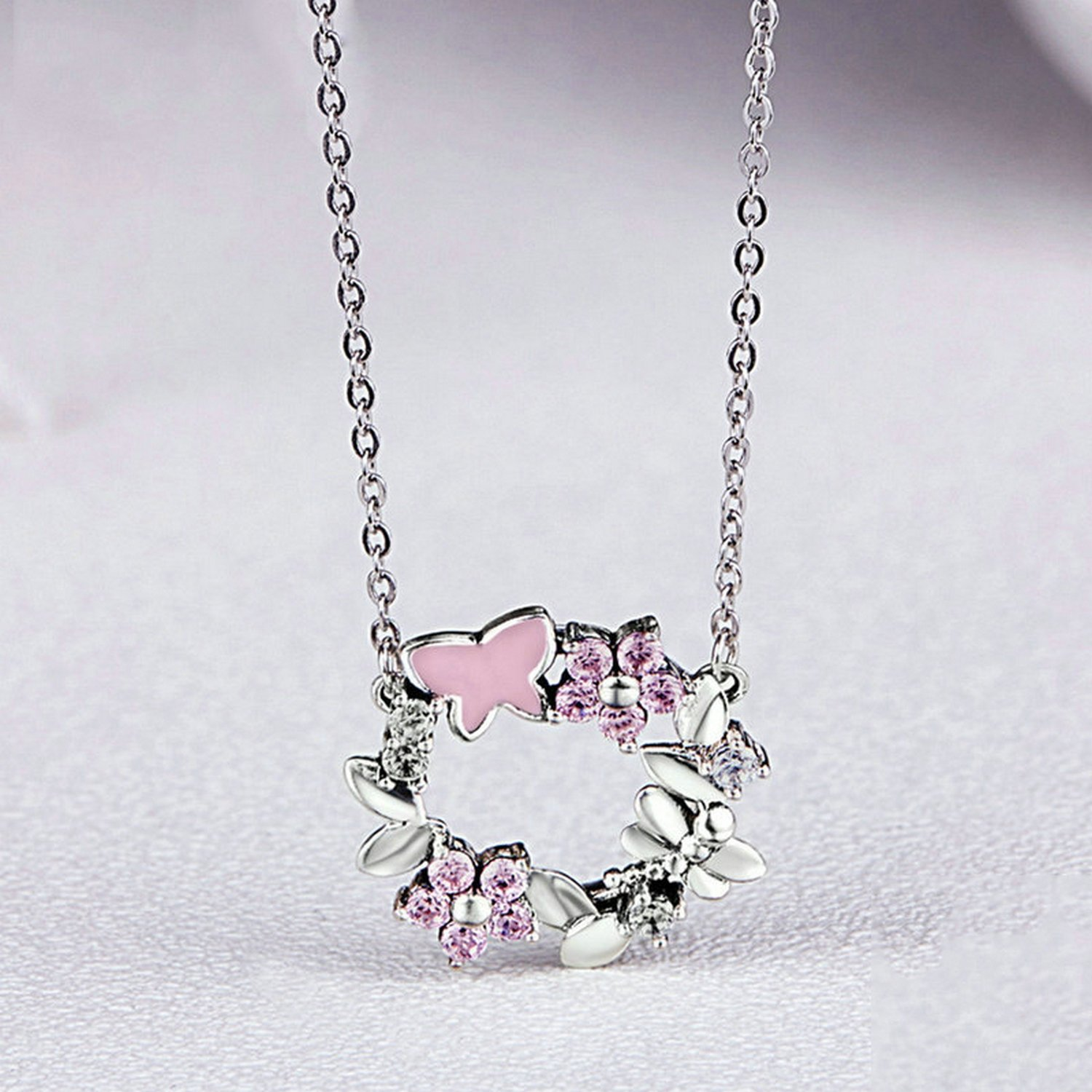 MMC Garland Butterfly Round Silver Pendants Necklaces