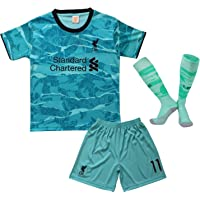 2020/21 Liverpool Soccer Football Jersey Kit Youth Away Blue Salah 11 Kids