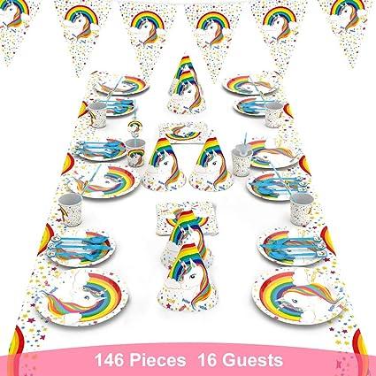 decalmile 146 Piezas Vajilla Diseño de Unicornio para 16 Infantiles Decoración de Fiesta de Cumpleaños (Platos, Tenedores Cucharas Cuchillos, Vasos, ...