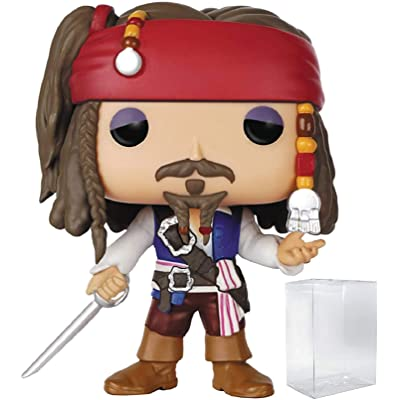 Funko Pop! Disney: Pirates of The Caribbean - Captain Jack Sparrow Vinyl Figure (Bundled with Pop Box Protector Case): Toys & Games