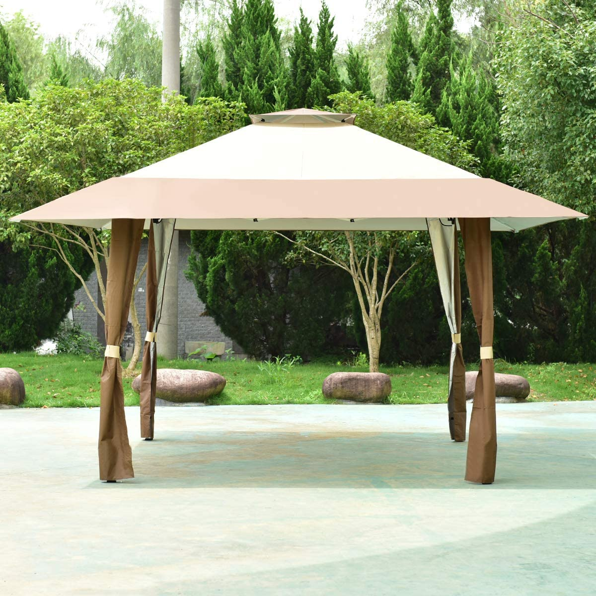 COSTWAY 4 x 4m Pop-Up Outdoor Gazebo, Waterproof Pavilion Canopy Tent with 2-Tier Roof, Carrying Bag, Large Marquee Shelter for Patio