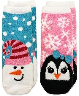 284b8c30a24 Jefferies Socks Girls  Little Snowman and Penguin Fuzzy Non-Skid Slipper  Socks 2 Pair